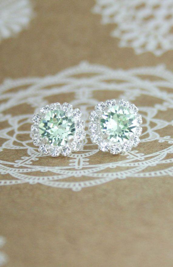 Mint green crystal earrings | Swarovski Chrysolite crystal halo stud earrings | mint green wedding | light green wedding | green and white wedding | www.endorajewellery.etsy.com