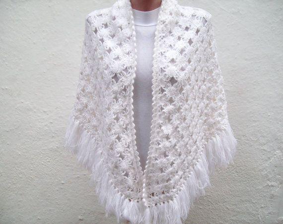CowlShawlScarfShawl Triangle white Holiday Accessories by nurlu, $68.00