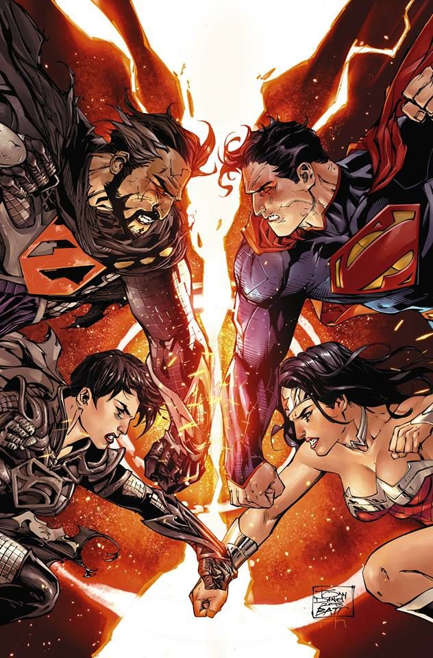Superman and Wonder Woman vs General Zod and Faora by Tony Daniel, colours by Tomeu Morey.