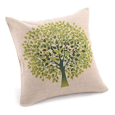 Country Vivid Tree Decorative Pillow Cover – USD $ 12.99