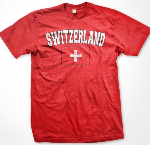 Switzerland Flag International Soccer T-Shirt, Swiss National Pride Mens T-shirt