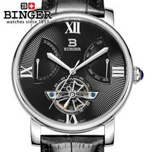 Switzerland watches men luxury brand Wristwatches BINGER Mechanical Wristwatches Diver waterproof leather strap watch BG-0408-2(China (Mainland))