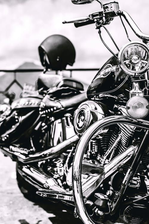 Beautiful bike photographed in black and white. This makes the chrome and silver stands out even more. Harley Davidson Fatboy, Classic Harley Davidson, Harley Davidson Motorcycles, Stuff To Do, Things To Do, White Motorcycle, Harley Davison, Black And White Aesthetic, Stock Foto
