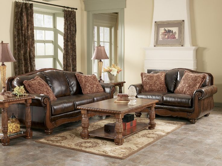 Signature Design By Ashley Barcelona   Antique 5 PC Living Room Collection