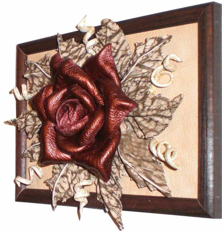 cuadro con flores de cuero