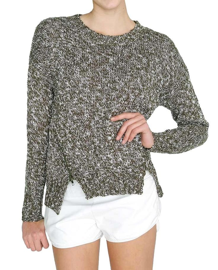 +Green Marled sweater with zipper details on front bottom