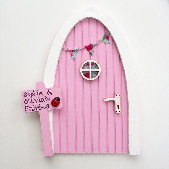Personalised Fairy Door - Pink - Magical Elf Door, Miniature Wooden Door with Bunting & Personalised Sign, Imaginative Play, Gift for Girls