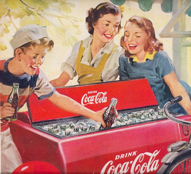 Ad-Coke 1951   i used to put my hand in to get the ice cubes ...(how disgusting that had to be ..lol)  but other kids were doing also