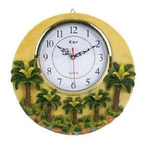 Awesome Palm Tree Kitchen Theme | Ceramic Wall Hanging Clock Palm Tree 3D #7746