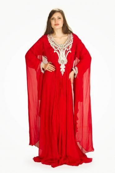 Subaha Red Chiffon Gown Style Kaftan #chiffon #kaftan #reddress #dress