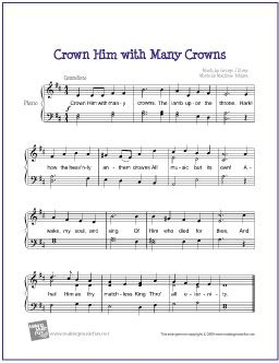 Crown Him with Many Crowns   Free Sheet Music for Easy Piano - http://makingmusicfun.net/htm/f_printit_free_printable_sheet_music/crown-him-piano.htm