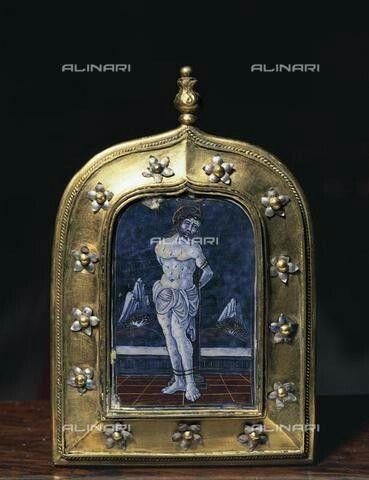 Anonimo, Martirio di san Sebastiano, teca in argento e smalto, Lodi, santuario dell'Incoronata.