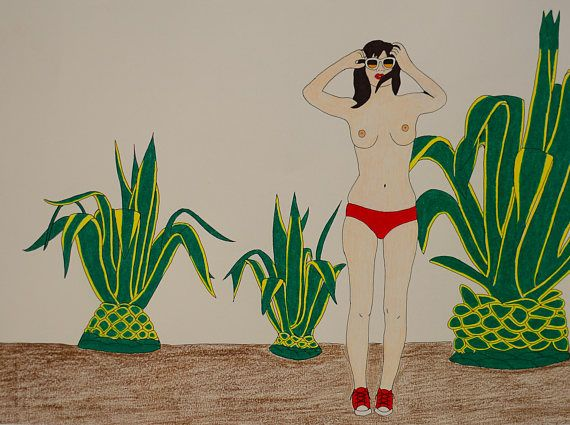 Summer Vibes.  Drawing of a naked girl wearing sunglasses. Drawn on thick paper using ink pen and colored pencils. 30x40cm, original art, inspired by Simon Boltz photography.
