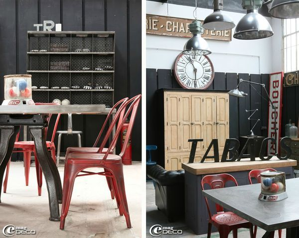 M tal woods mobiliers industriels meubles vintages for Decoration interieur style atelier