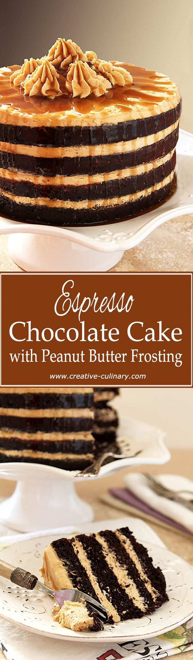 This Espresso Chocolate Cake with Peanut Butter Frosting is finished with a Rum Drizzle. It's fantastic! via @creativculinary