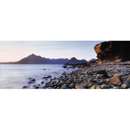 Rocks on the beach Elgol Beach Elgol view of Cuillins Hills Isle Of Skye Scotland Canvas Art - Panoramic Images (30 x 12)