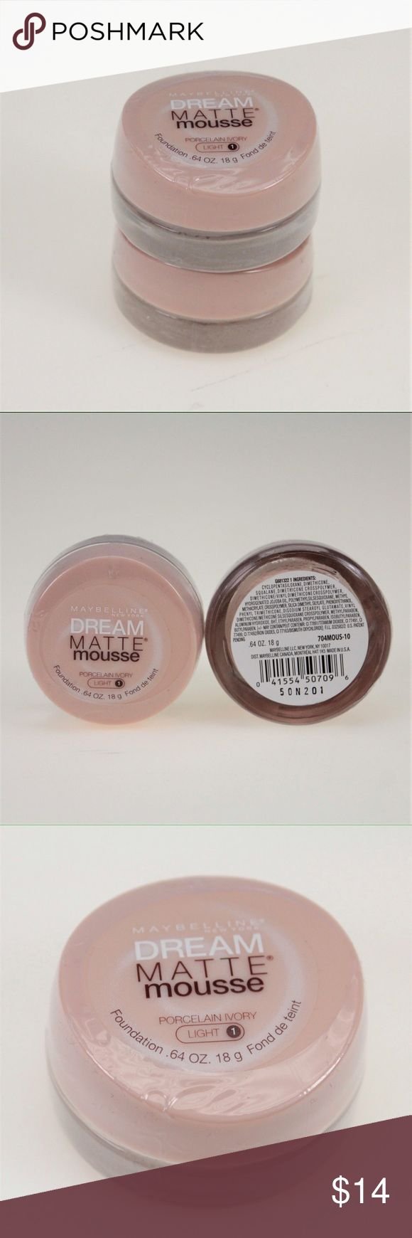 Maybelline Matte Mousse Foundation-Porcelain Ivory Revolutionary whipped formula provides air-soft, perfect matte coverage, with a weightless feel. Maybelline New York Dream Matte Mousse Foundation blends effortlessly for a soft, natural-looking, even-toned result. This set comes with two Light 1 Porcelain Ivory jars. Both are brand new and still sealed. Maybelline Makeup Foundation