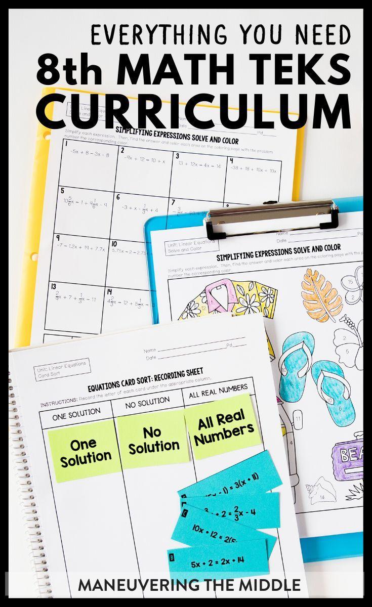 8th Grade Math Curriculum Teks Maneuvering The Middle Math Teks 8th Grade Math Math Curriculum [ 1200 x 735 Pixel ]
