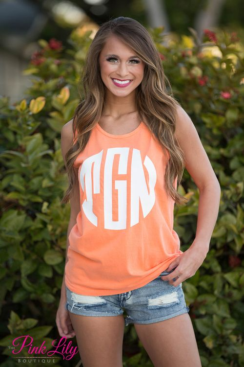 Your true colors are sure to show in this new vinyl monogram tank top! It's perfect year round and even better to take to the beach! We offer a wide variety of colors in both the tanks and vinyl options to match any occasion or favorite color!