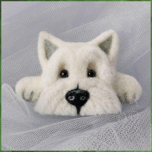 Вест хайленд уайт терьер мордочка, вестик брошь из войлока, собачка брошь,собака валяная брошка, брошка для девочки,подарок девушке, подарок на любой случай, валяная брошь собака, купить подарок дочке