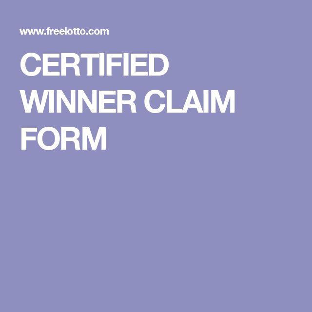 CERTIFIED WINNER CLAIM FORM