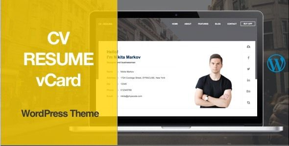 CV, Resume, vCard WordPress Theme Wordpress Theme for Blog - wordpress resume theme