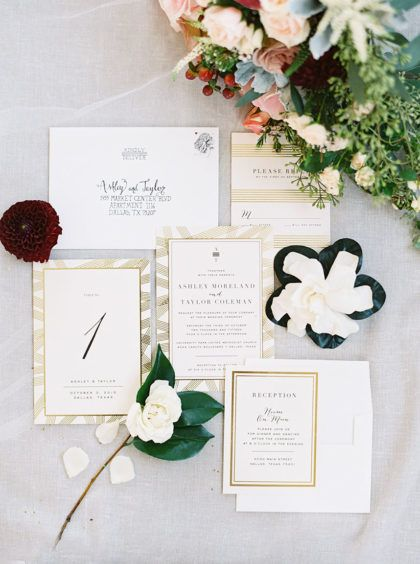 White And Gold Wedding Invitations Are Always In Style Look So Clic Captured By