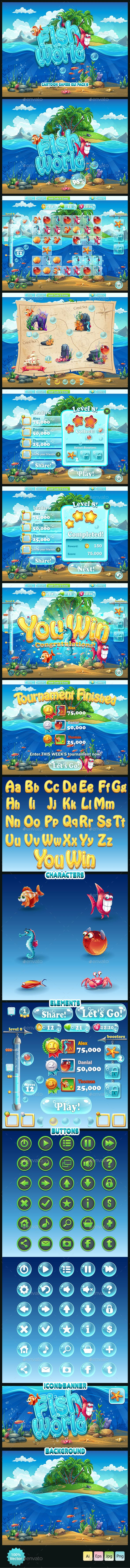 Fish world - GUI pack 9 - User Interfaces #Game #Assets | Download http://graphicriver.net/item/fish-world-gui-pack-9/13272177?ref=sinzo