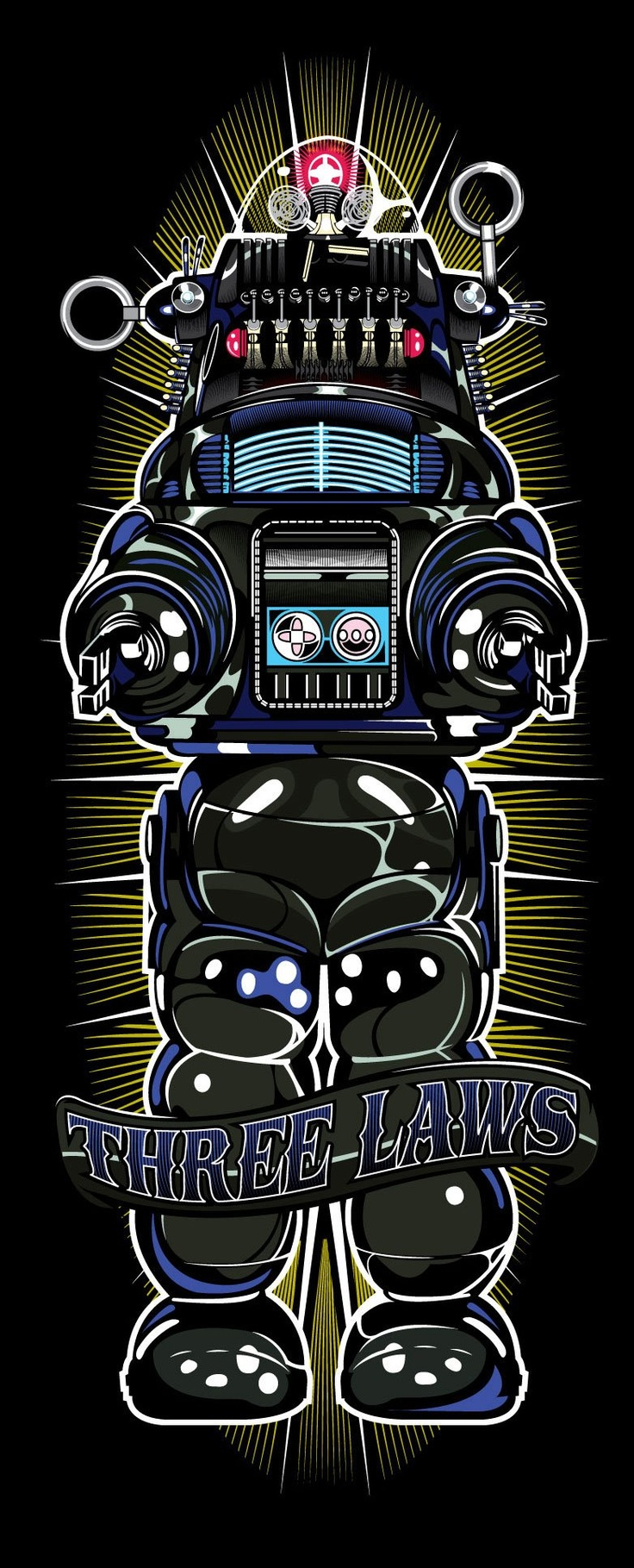 Robby the Robot - Three Laws by Samuel Ho. 1) Do no injury 2) Obey humans unless it conflicts with First Law 3) Protect yourself unless it conflicts with First and Second Laws