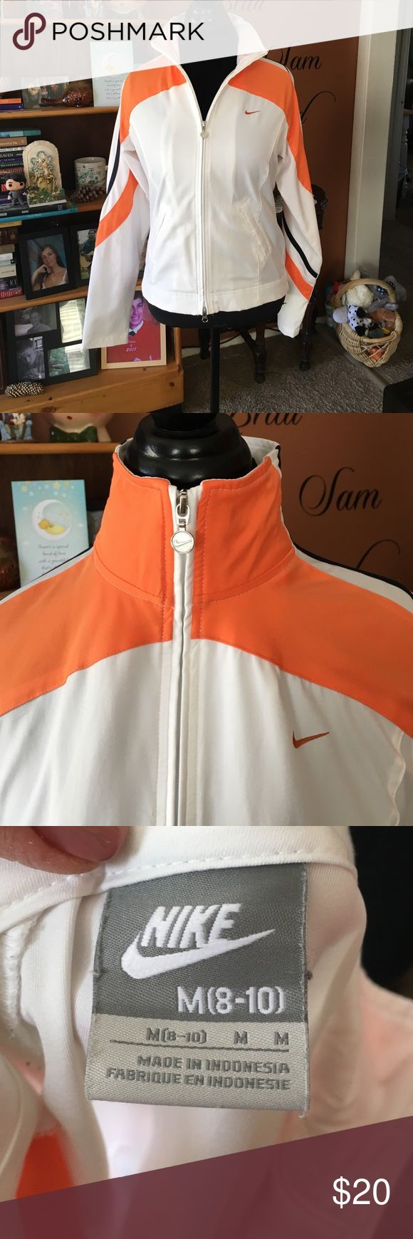 Nike Womens Zip Up Lightweight Jacket EUC, worn once. Jacket is lightweight, not lined. White with orange and black trim. Nike Jackets & Coats