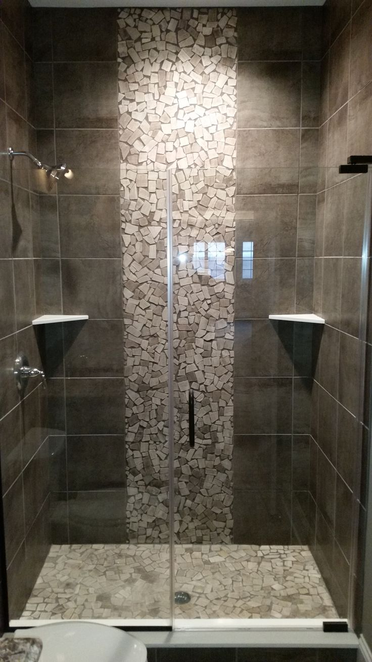 Pebble Tile Accent Grey Shower Custom Floors Projects