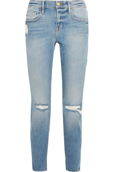 FRAME - Le Boy Cropped Distressed Mid-rise Slim-leg Jeans - Blue -