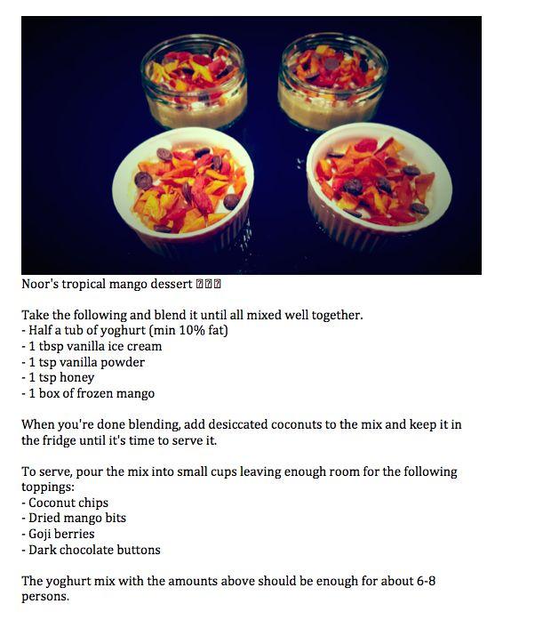 Noor's Tropical Mango Dessert - delicious! Kids loved it