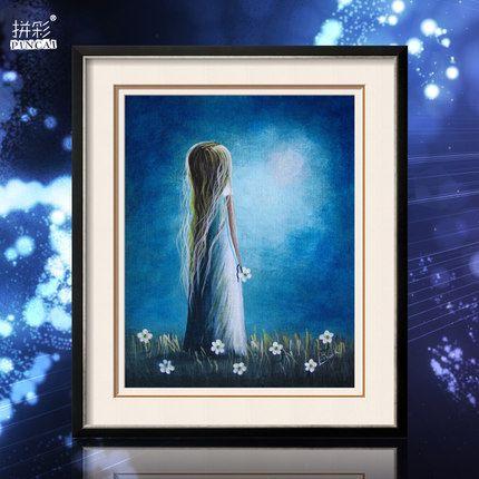 Последние 3D Алмазная одинокая девушка Картина гостиной спальня Мультфильм квадратных алмазная паста алмазного бурения живопись пейзажи Вышивание гладью