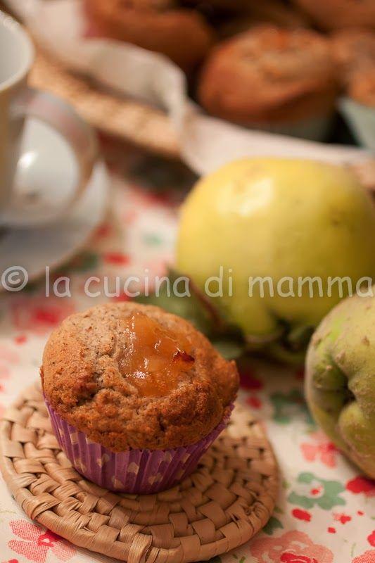 la cucina di mamma: Muffin di grano saraceno solo albumi con cuore di mele cotogne