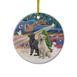 Xmas Magic - Two Labradors (Black  Yellow) Christmas Ornament