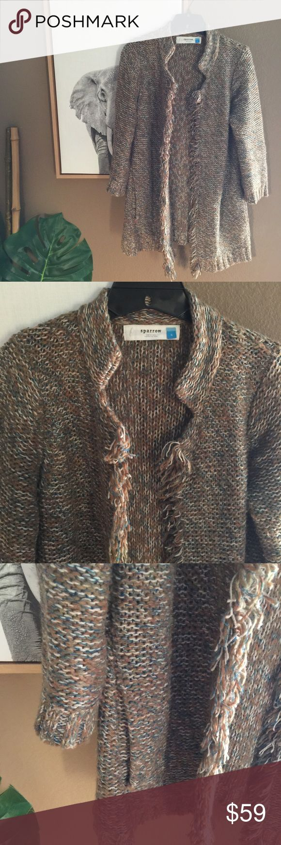 Anthropologie Sparrow Fringed Cardigan Coat So cute and warm! In very good used condition. Might have slight piling here and there but I will remove any before shipping. I wore this a couple times with a fitted Allsaints dress. It's very versatile. Wear with your favorite leggings and boots or with a fitted t shirt dress/tights and off you go! Looking for another girl who will rock this! Fits true to size in my opinion. The sleeves are 3/4 in length. Anthropologie Sweaters