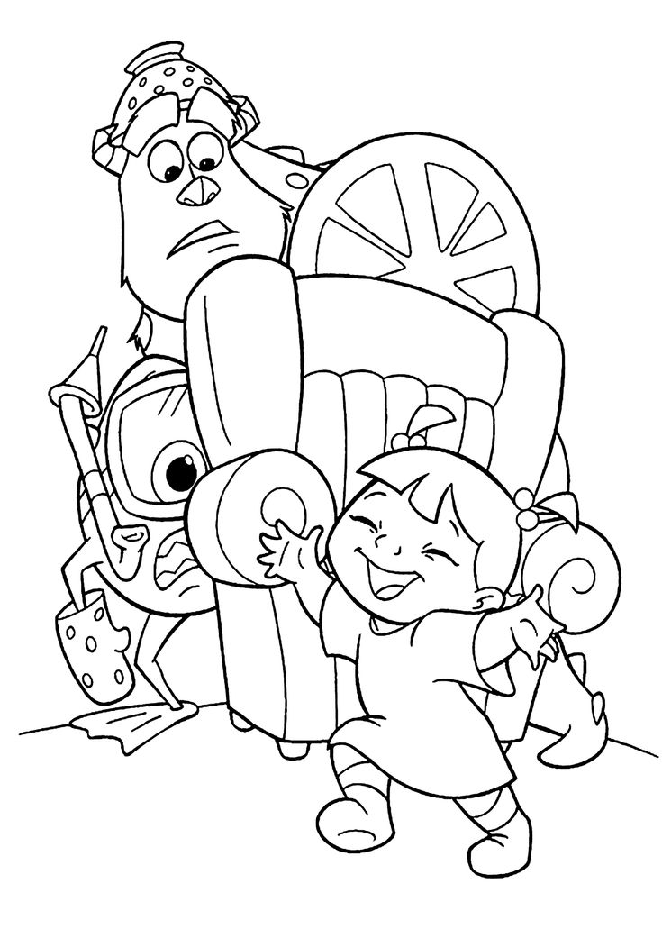 monster inc cartoon coloring pages for kids printable free - Kid Coloring Games