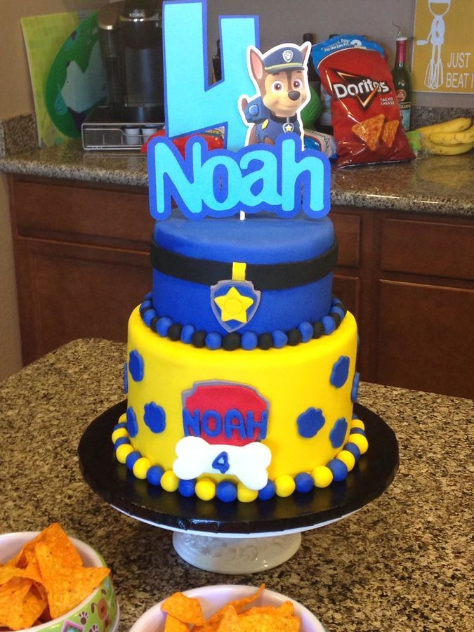My son asked me for a Paw Patrol themed cake for his birthday. I took inspiration from his invitations and his favorite character, Chase. It was a huge hit with the birthday boy! Chocolate cake with mint chocolate chip filling and chocolate buttercream. Thanks for looking!