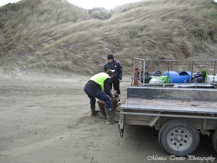 September 15, 2013.  Oreti Beach Clean Up.  A lower trailer was just what was needed to put the old fireplace on that was found along the beach.