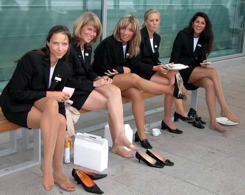 Stewardes in pantyhose