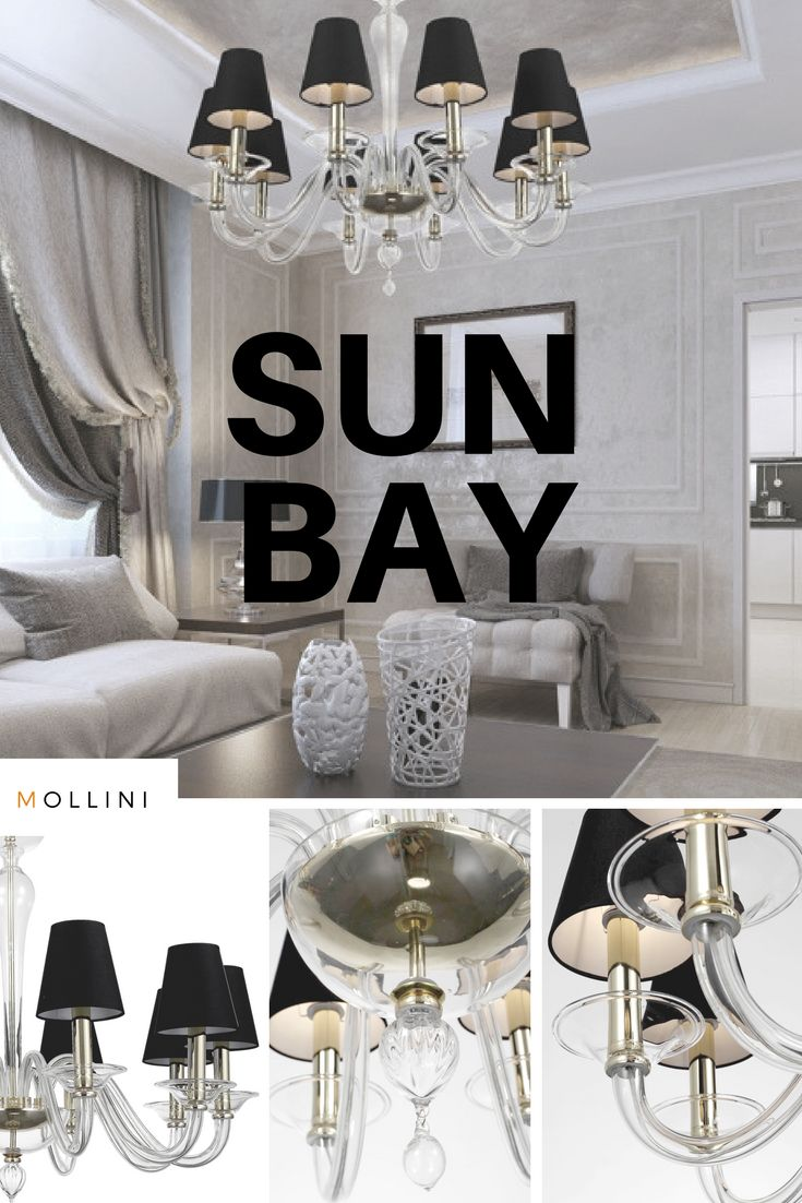 SUN BAY839,80 euro #Classic form of #chandelier will be perfect for stylized rooms and #modern #interiors.   #hanginglamp #murano #glass #italian #crystal #clear #4_home #livingroom #style #decor #mollini #handmade #lamps #luxusry #elegance #luxurious #gold