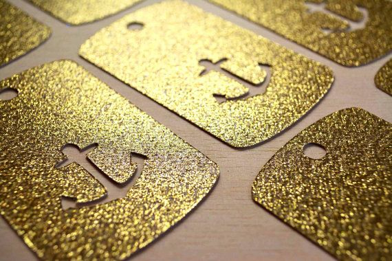 GOLD NAUTICAL Anchor Tags Perfect for Favor by PartyMadePretty, $6.00