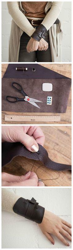 Kostenlose Nähanleitung: Das Star Wars Armband von Rey nähen / free star wars diy: how to sew Rey's leather wrist band via DaWanda.com