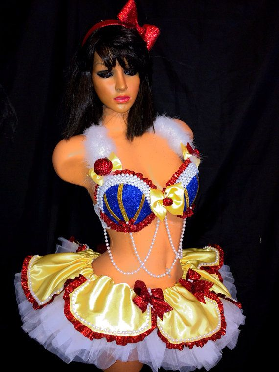 This adorable sweet sexy snow white costume is fabulous for any event EDC, Rave, festivals or for just a fun party. $100 just the bra if you choose