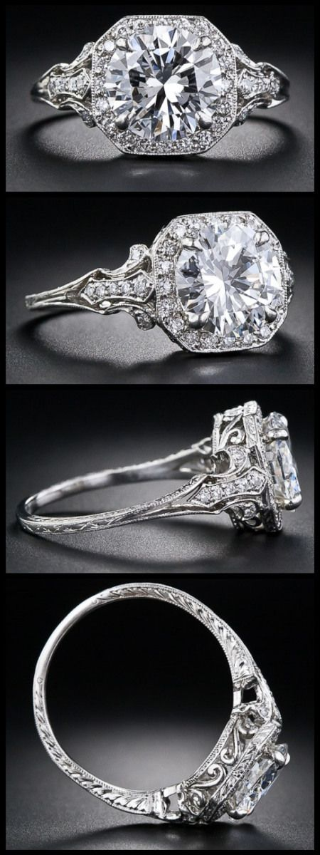 2.17 Carat 'D' color diamond Edwardian style engagement ring. Via Diamonds in the Library. anillos de compromiso | alianzas de boda | anillos de compromiso baratos http://amzn.to/297uk4t