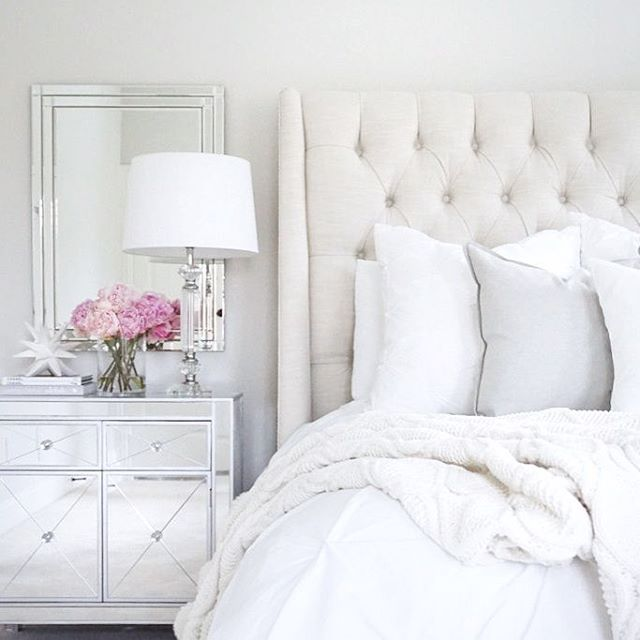 Interior White Bedroom Decorating best 25 white bedroom decor ideas on pinterest arhaus linen tufted bed mirrored nightstand target wedding pottery barn pink peonies neutral decor