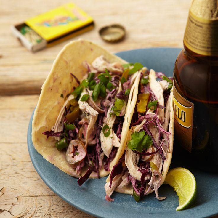 Chicken and Cabbage Tacos with Cilantro Cream Recipe  - Melissa Rubel Jacobson | Food & Wine