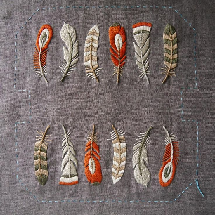 Embroidery feathers