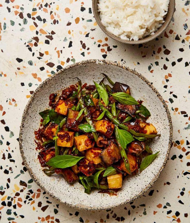 Meera Sodha's vegan recipe for aubergine, green bean and Thai holy basil stir-fry